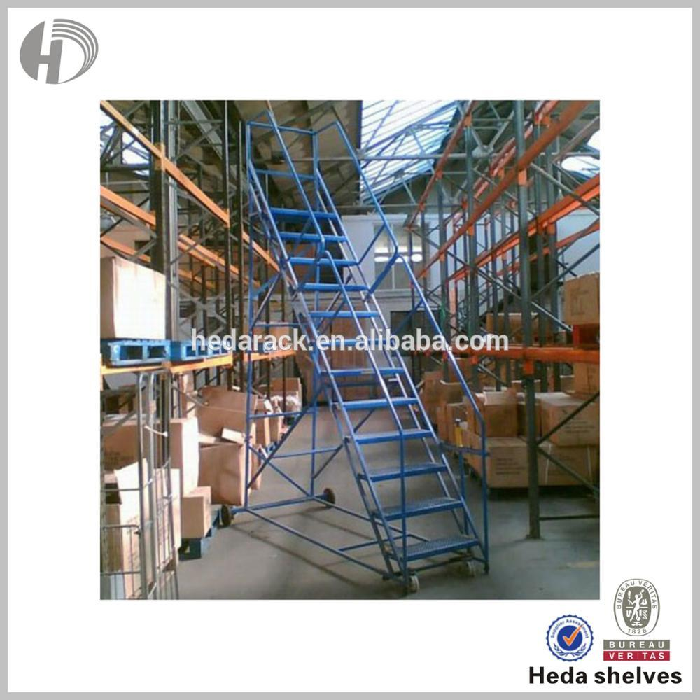 Customization Warehouse metal ladder and shelf ladder with wheel