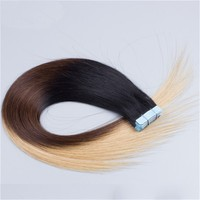 Indian remy human hair tape weft ombre hair T three tone color black brown to blond silk straight human hair extension skin weft