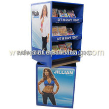 cardboard floor standing display bin shelving display box for fitness dvd retoting display stands