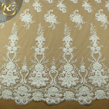 LF-370 New Design 3d Flower Applique Bridal French Embroidered Tulle Bulk Guipure Lace Fabric Wedding Dress