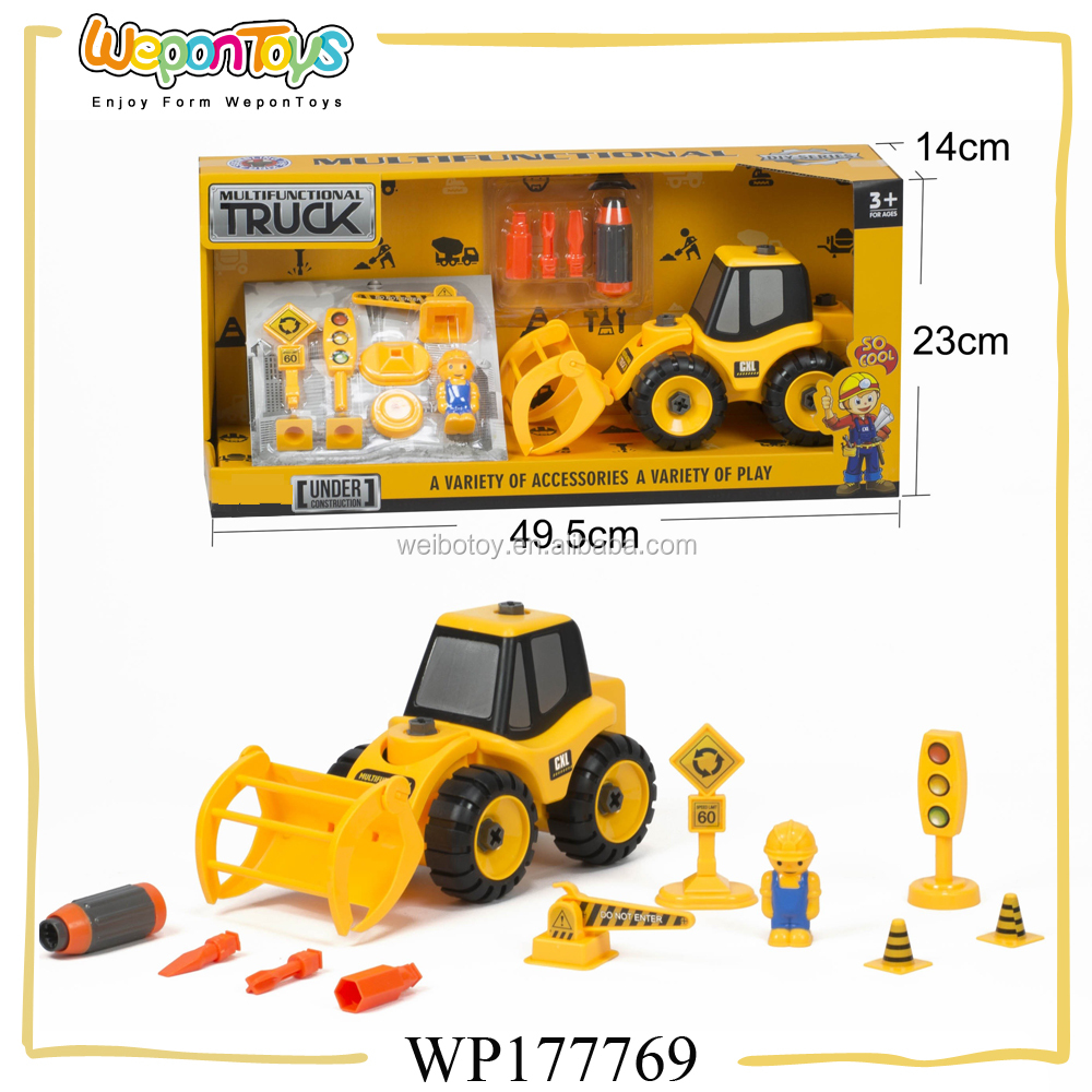 easy assembling plastic toy truck with tool intelligent diy model car toy for sale