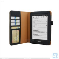 for Amazon Kindle Voyage pu leather stand notebook cases cover with wallet slot and magnetic button