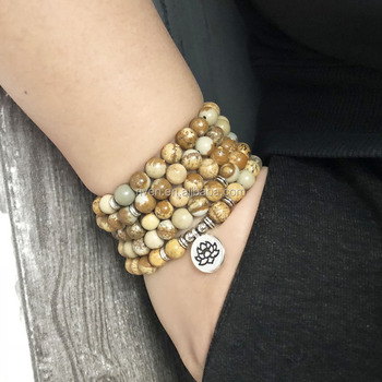 SN1145 Men Fashion Stone wraps Bracelet Flower Lotus Charm OM Yoga Picture Jasper 108 Mala Bracelet
