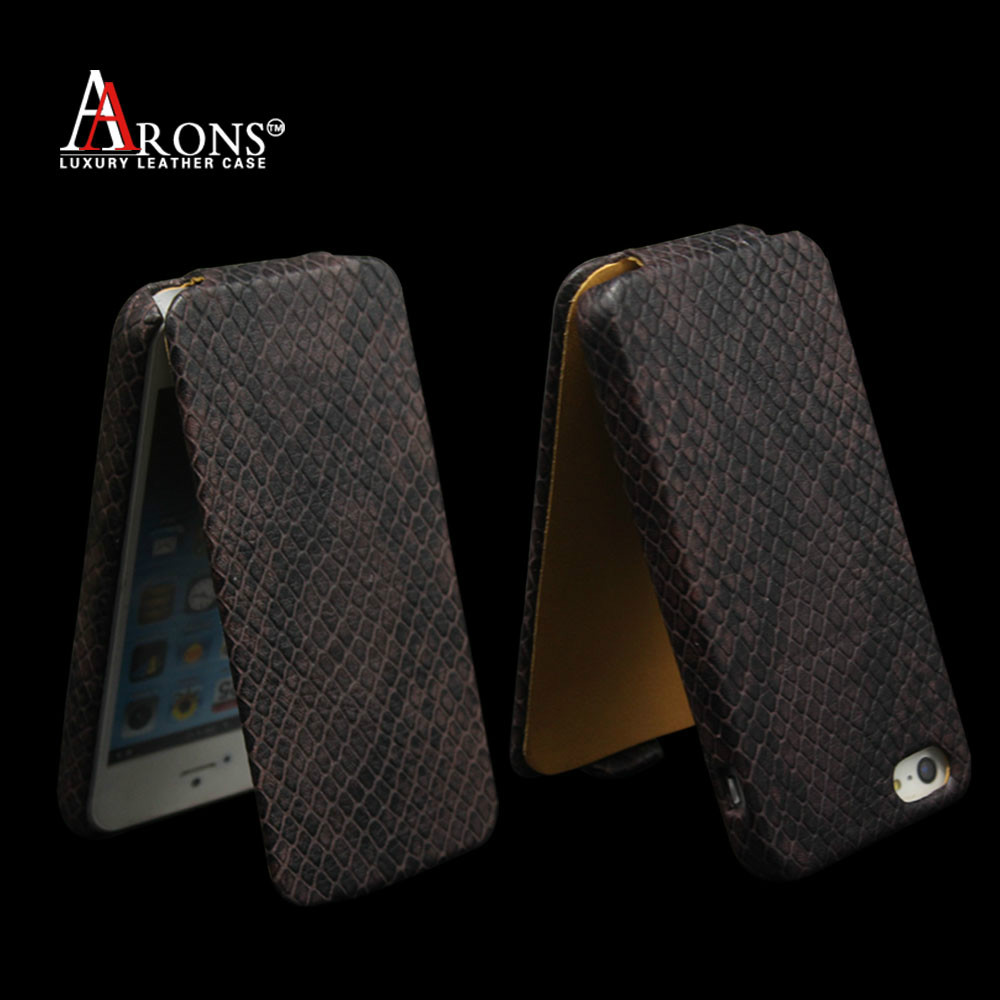 Luxury snake textured leather wallet battery case for iphone 5 flip case