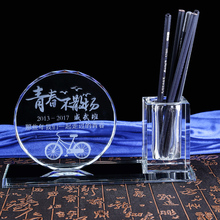 High Quality Promotional Cheap Crystal Office Anniversary Gifts With Pen Holder