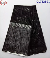 CL7526 Newest embroidery design black elegant net lace with stones fabric high class net french lace for women dresses