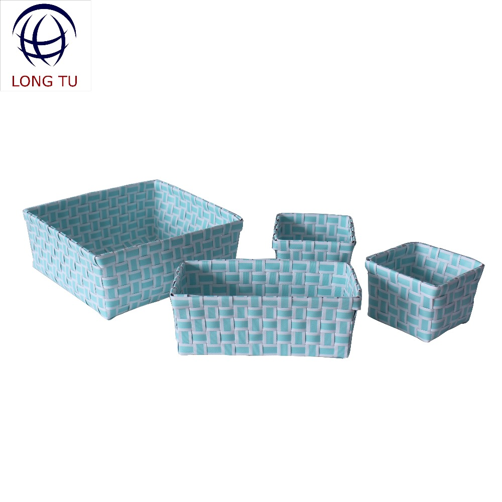 Set of 4 Triangle Shaped Bin Plastic Toy Woven Strap Basket Storage Organizer