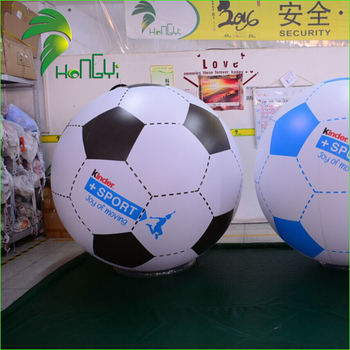 Advertising Large Soccer Shaped Inflatable Balloon / Large PVC Helium Trade Show Football Balloons