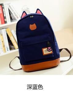 G>D 2016 Hot Sales Campus Girl Backpack Women Travel Bag Young Men Canvas Backpack Brand fashion school Bag Catears Bag mochila