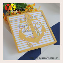 INC125 cool gold anchor design birthday card birthday party invitation cards made in China