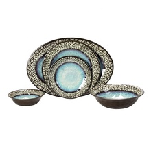 Retro glazed luxury <strong>plates</strong> bowl sets ceramic porcelain like stone crack design OEM melamine <strong>plates</strong> sets dinnerware for sale