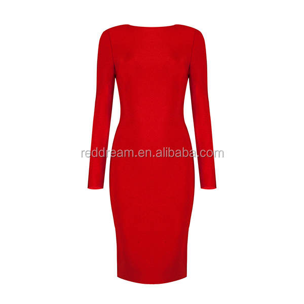 2016 Winter New Women Black Red Beige Deep V Neck Long Sleeves Zipper Chic Sexy Evening Party Bandage Dress H2645