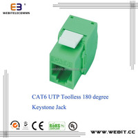 Cat6 UTP 180 degree Keystone Jack Modular Coupler,slim type