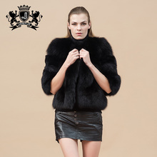 2017 winter design supple and thick fox fur sex ladies black fur coat