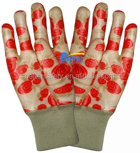 Women Style Flower-Printing Cotton Lined PVC Fully Dipped Garden Glove