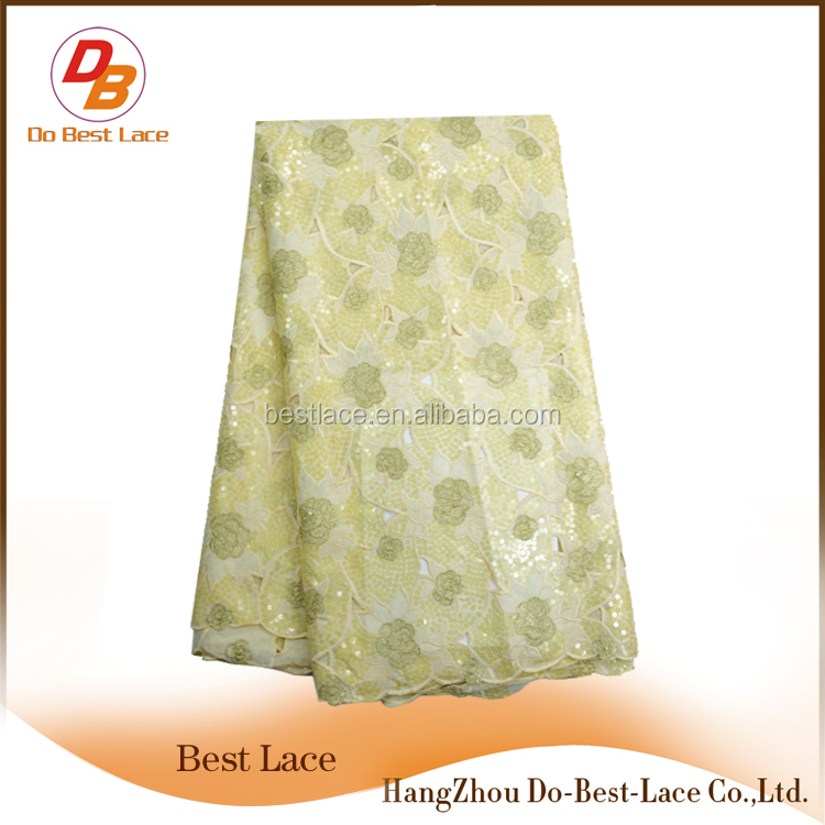Evening Dress Fabric Double Organza Lace Dubai Saree Fabric For Women