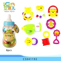 Hot selling plastic mini happy rock bell 8pcs rattle baby toys
