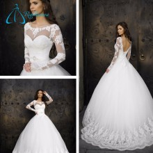 2017 Long Sleeve Lace Up Ball Gown Wedding Dress Bridal Gown
