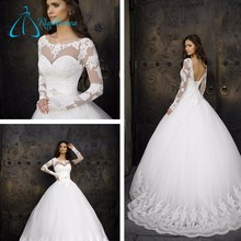 Long Sleeve Lace Up Ball Gown Wedding Dress Bridal Gown