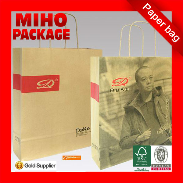 2013 best seller wholesale paper shopping bags/small brown paper bags with handles/color kraft paper bag