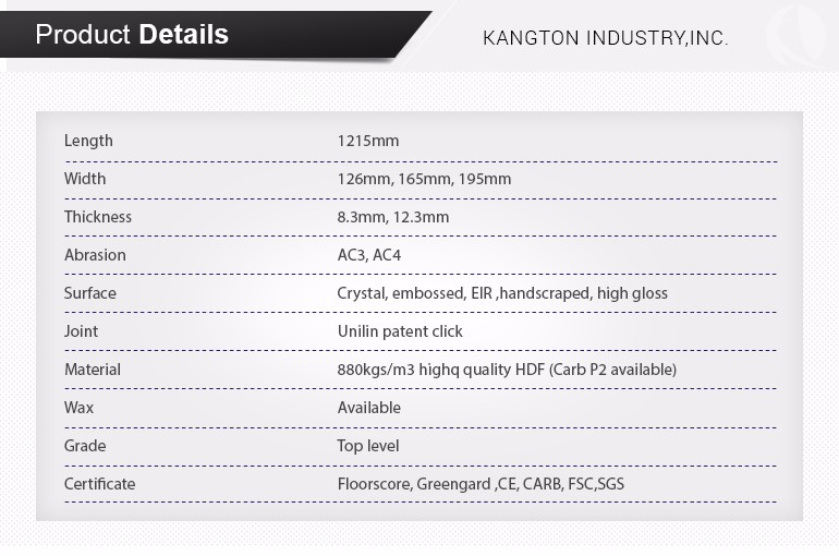 Kangton AC4 12mm Laminate Flooring with Carb P2 Certificated, Top Quality Level