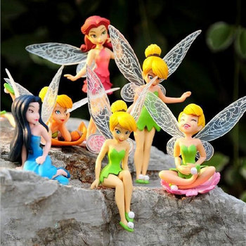 (Hot) 6 Pcs Anime Tinkerbell Flying Fairy Collectibles Dolls Set Tinker Bell Fairies PVC Action Figures Kids Toys For Girls