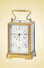 French Retro Gilted Art Clock, Portable Antique Metal Carriage Clock