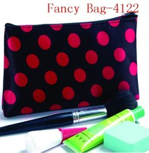 Black Satin Blackground Women Red Dots Cosmetic Bag