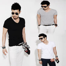 New Fashion Men Slim Fit Cotton V-Neck Short Sleeve Casual T-Shirt Tops Hot VM