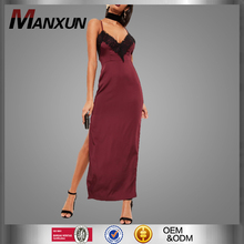 Custom Ladies Mature Funky Fashion Burgundy Silky Eyelash Lace Maxi Dress Party Evening Spaghetti Strap Dresses