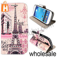 Famous Eiffel Tower Case for Samsung Galaxy S4 Mini i9190, Wallet Flip Leather Diamond Case for Samsung Galaxy S4 Mini