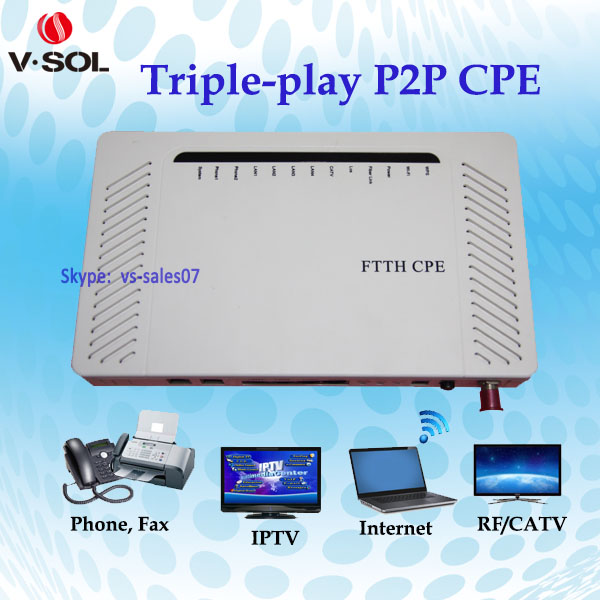 High quality 4GE+2POTS+WiFi+CATV p2p CPE for FTTH,FTTX project