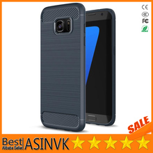 Wire Drawing Case Shockproof Carbon Fiber Protective Silicone Case for Sumsang Galaxy S 7Edge