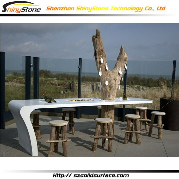 Long bench shape design Solid Surface beach bar design