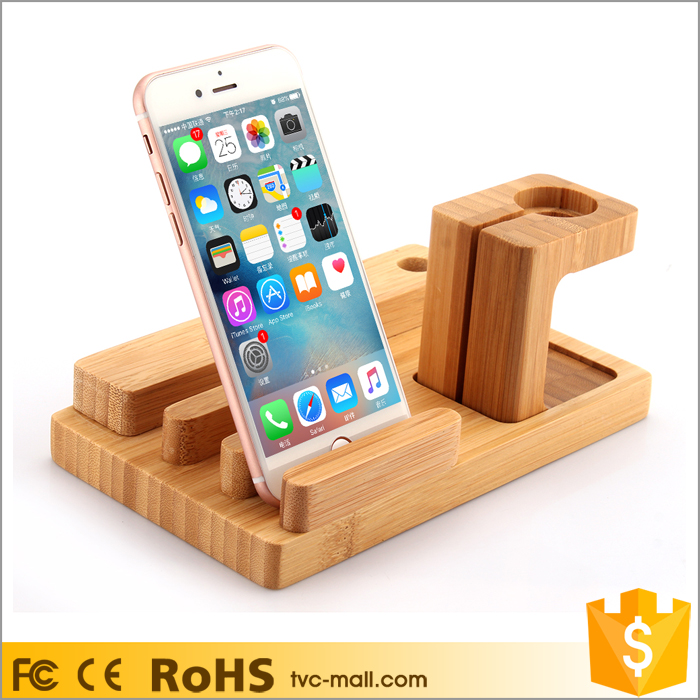 Desktop Bamboo 4 Port USB Charging Station Stand Charger Dock for Apple Watch