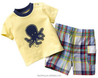 boys t-shirt with animal printed or embroidery design shorts set