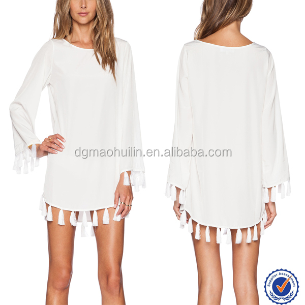 Blouse dress with tassel hem long sleeve short dress cheap white short mini dress