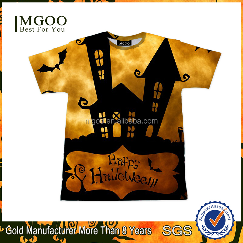 2016 Hot Selling T-shirts With Amazing Patterns Mens Custom Halloween Party Clothing Wholesale Sublimation Printing Apparel