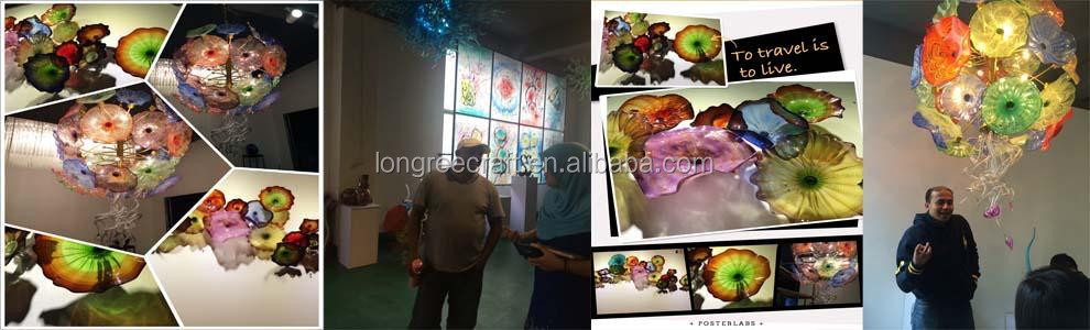 murano glass plate flower art wall plates amber colored for wedding decoration