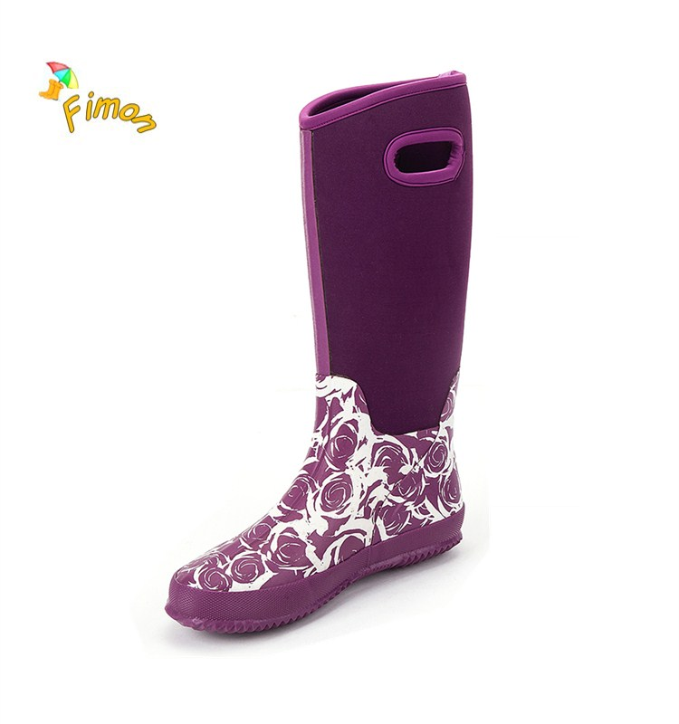 neoprene rubber ladies rain boots
