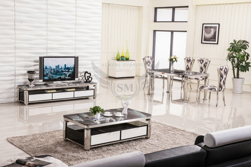 Factory Direct Sale Square Stone Marble Top Coffee Tables For Living Room B