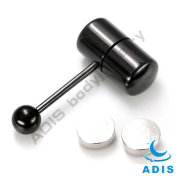 Anodized Black Vibrating Tongue Bar Stud