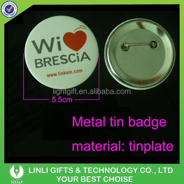 Wholesale Custom Logo Round Tinplate Metal Badge with Pin