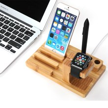 universal bamboo stand for iPhone apple watch and tablet