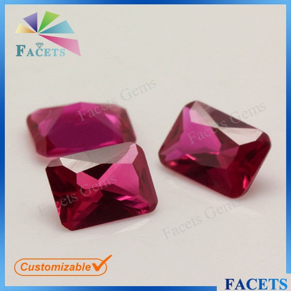 FACETS GEMS Buy Ruby Prices Octagon Cut Synthetic Ruby 5# Bangkok Ruby Price