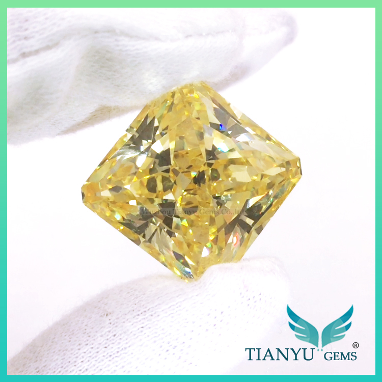 Wholesale Synthetic Heat Zircon Stone 6A Yellow Rectangle CZ Gemstones Loose Cubic Zirconia Price