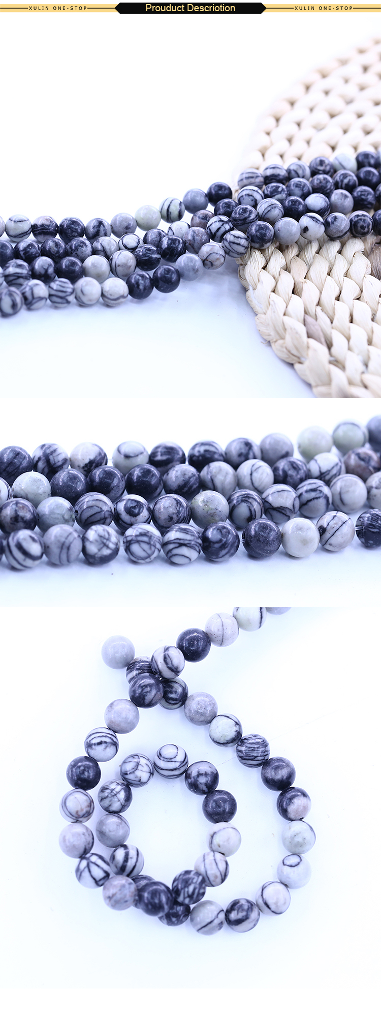 XULIN Round beads Black Picasso Jasper Bead For Jewelry DIY