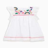 Boutique children western party wear dresses for kids white embroidery wholesale girl dress new baby frock design 2017