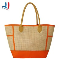 2017 China Wholesale New Design Straw Weaving Pattern Beach Bag with Leather handle