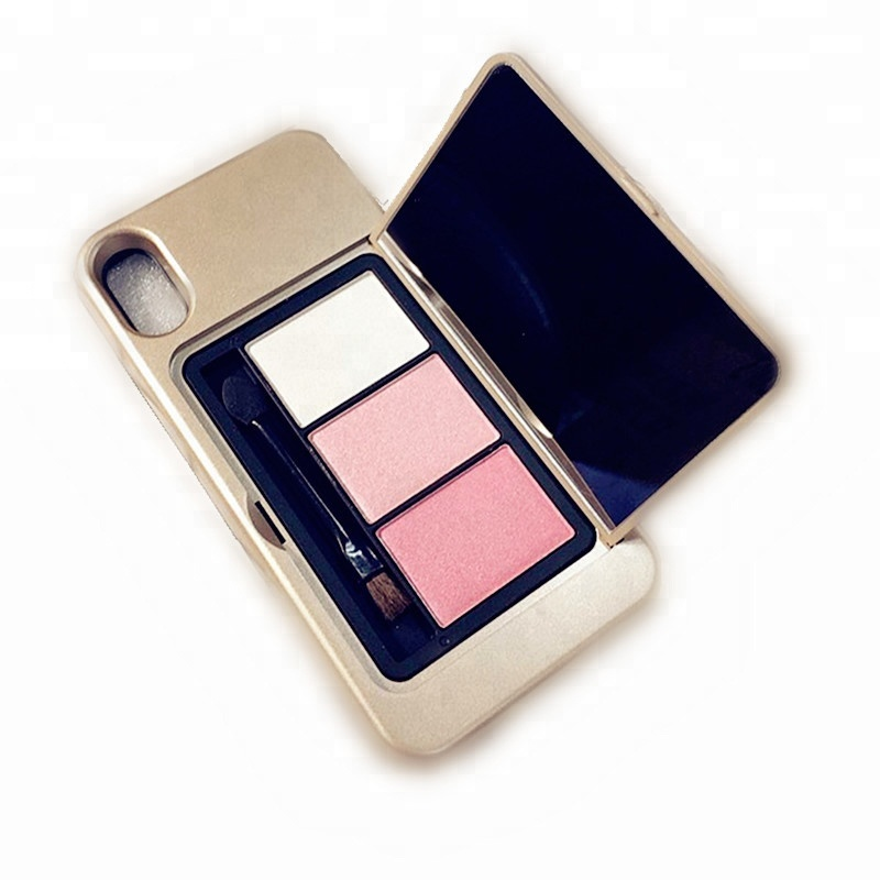 trending products 2018 new arrivals eyeshadow case makeup mirror cell phone case for <strong>iphone</strong> x 8